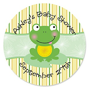 Froggy Frog - Personalized Baby Shower Sticker Labels - 24 ct