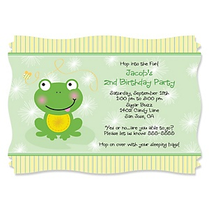 Froggy Frog - Personalized Birthday Party Invitations - Set of 12