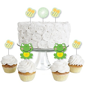 Froggy Frog - Dessert Cupcake Toppers - Baby Shower or Birthday Party Clear Treat Picks - Set of 24