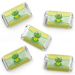Froggy Frog - Mini Candy Bar Wrapper Stickers - Baby Shower or Birthday Party Small Favors - 40 Count