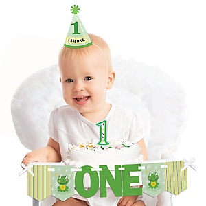 Froggy Frog 1st Birthday - First Birthday Boy or Girl Smash Cake Decorating Kit - High Chair Decorations
