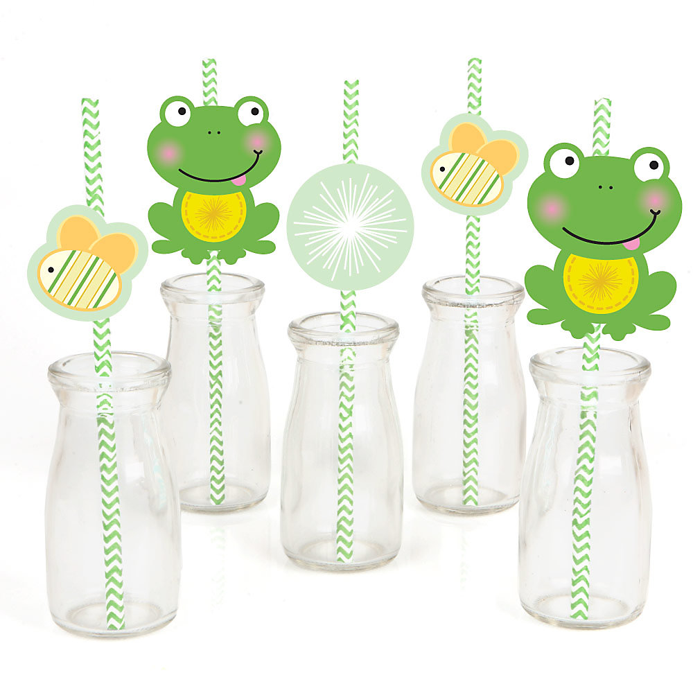 Froggy Frog Party Straw Decor With Chevron Paper Straws