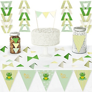Froggy Frog - DIY Pennant Banner Decorations - Baby Shower or Birthday Party Triangle Kit - 99 Pieces