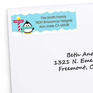Holly Jolly Penguin - 30 Personalized Holiday & Christmas Party Return Address Labels
