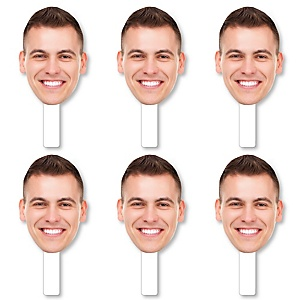 Fun Face Cutout Paddles - Custom Photo Head Cut Out Photo Booth and Fan Props - Upload 1 Photo - 6 Piece Cut Out Kit
