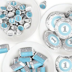 1st Birthday Boy - Fun to be One - Mini Candy Bar Wrappers, Round Candy Stickers and Circle Stickers - First Birthday Party Candy Favor Sticker Kit - 304 Pieces