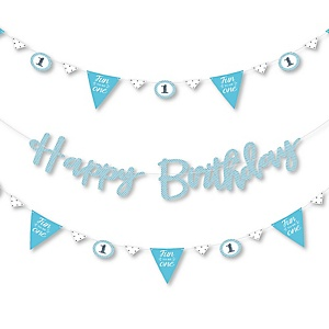 1st Birthday Boy - Fun to be One - First Birthday Party Letter Banner Decoration - 36 Banner Cutouts and Happy Birthday Banner Letters
