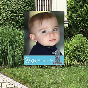 1st Birthday Boy- Fun to be One - Photo Yard Sign - First Birthday Party Decorations