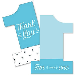 1st Birthday Boy - Fun to be One - Shaped Thank You Cards - First Birthday Party Thank You Note Cards with Envelopes - Set of 12
