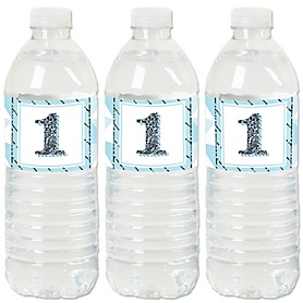 1st Birthday Boy - Fun to be One - First Birthday Party Water Bottle Sticker Labels - Set of 20
