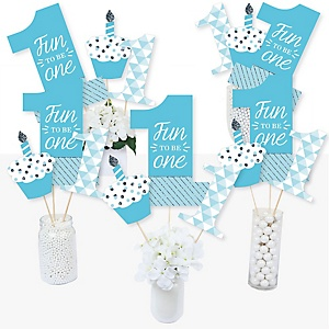 1st Birthday Boy - Fun to be One - First Birthday Party Centerpiece Sticks - Table Toppers - Set of 15