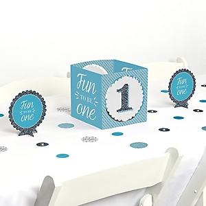 1st Birthday Boy - Fun to be One - First Birthday Party Centerpiece and Table Decoration Kit