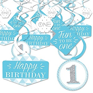 1st Birthday Boy - Fun to be One - First Birthday Party Hanging Decor - Party Decoration Swirls - Set of 40