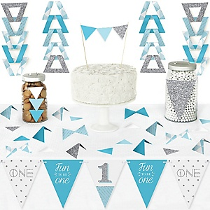 1st Birthday Boy - Fun to be One - DIY Pennant Banner Decorations - First Birthday Party Triangle Kit - 99 Pieces