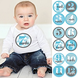 Baby Boy Monthly Sticker Set - Geometric Blue & Gray – Baby Shower Gift Ideas - 12 Piece