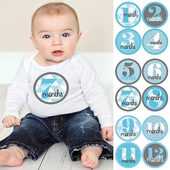 Baby Boy Monthly Sticker Set - Geometric Blue & Gray – Baby Shower Gift Ideas - 12 Piece