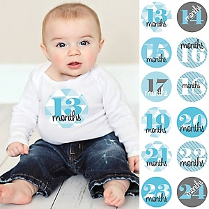 Baby Boy Second Year Monthly Sticker Set - Geometric Blue & Gray - Baby Shower Gift Ideas -  13 - 24 Months Stickers