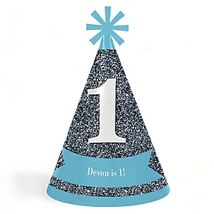 Fun To Be One - 1st Birthday Boy - Cone Happy First Birthday Party Hats for Kids and Adults - Set of 8 (Standard Size)