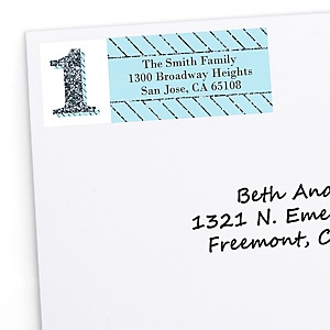 1st Birthday Boy - Fun to be One - Personalized First Birthday Party Return Address Labels - 30 ct