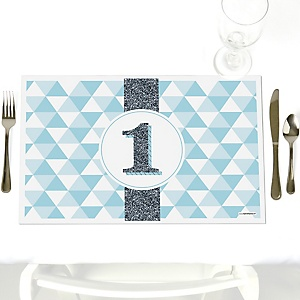 1st Birthday Boy - Fun to be One - Party Table Decorations - First Birthday Party Placemats - Set of 12