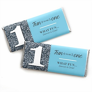 1st Birthday Boy - Fun to be One - Personalized Candy Bar Wrappers First Birthday Party Favors - Set of 24