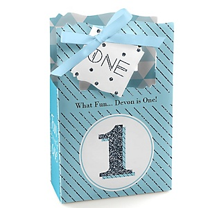 1st Birthday Boy - Fun to be One - Personalized First Birthday Party Favor Boxes - Set of 12