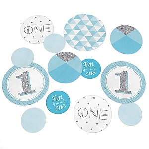 1st Birthday Boy - Fun to be One - Birthday Party Giant Circle Confetti - First Birthday Party Decorations - Large Confetti 27 Count