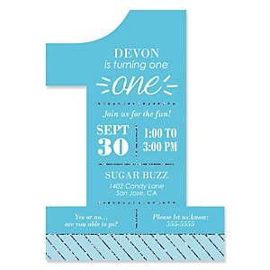1st Birthday Boy - Fun to be One - Shaped First Birthday Party Invitations - Set of 12