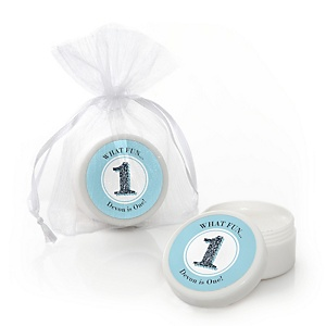 1st Birthday Boy - Fun to be One - Personalized First Birthday Party Lip Balm Favors - Set of 12