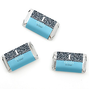 Fun to be One - 1st Birthday Boy - Personalized Birthday Party Mini Candy Bar Wrapper Favors - 20 ct