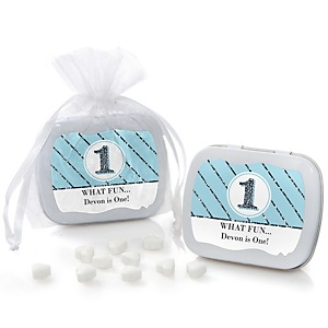 Fun to be One - 1st Birthday Boy - Personalized Birthday Party Mint Tin Favors