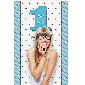 """Fun to be One - 1st Birthday Boy - Personalized Birthday Party Photo Booth Backdrops - 36"""" x 60"""""""