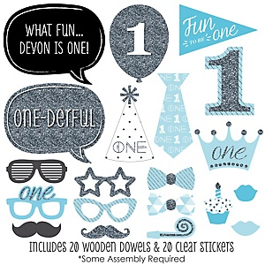 1st Birthday Boy - Fun to be One - First Birthday 20 Piece Photo Booth Props Kit