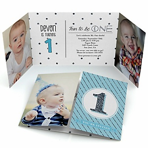 1st Birthday Boy - Fun to be One - Personalized First Birthday Party Photo Invitations - Set of 12