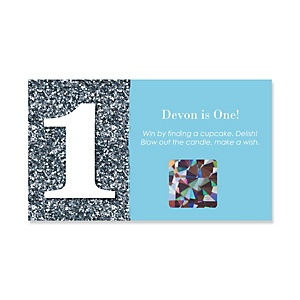 Fun to be One - 1st Birthday Boy - Personalized Birthday Party Game Scratch Off Cards - 22 ct
