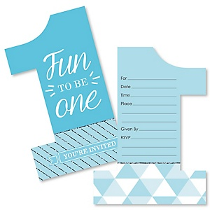1st Birthday Boy - Fun To Be One - Shaped Fill-In Invitations - First Birthday Party Invitation Cards with Envelopes - Set of 12