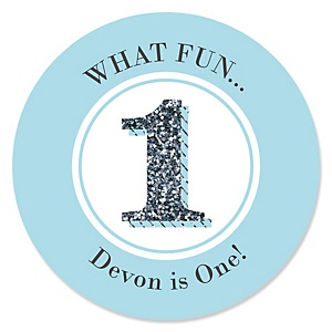 1st Birthday Boy - Fun to be One - Personalized First Birthday Party Sticker Labels - 24 ct