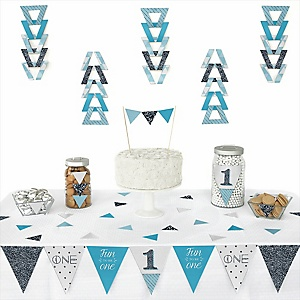 1st Birthday Boy - Fun to be One - Triangle First Birthday Party Decoration Kit - 72 Piece