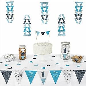 Fun to be One - 1st Birthday Boy - 72 Piece Triangle Birthday Party Decoration Kit