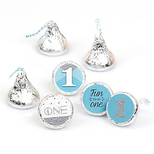 Fun to be One - 1st Birthday Boy - Round Candy Labels Party Favors - Fits Hershey's Kisses - 108 ct