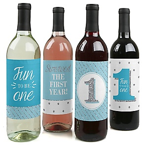 1st Birthday Boy - Fun to be One - First Birthday Party Decorations for Women and Men - Wine Bottle Label Stickers - Set of 4
