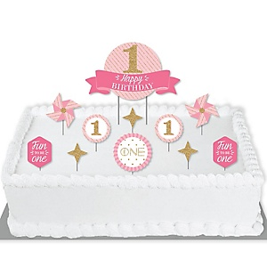 1st Birthday Girl - Fun to be One - First Birthday Party Cake Decorating Kit - Happy Birthday Cake Topper Set - 11 Pieces