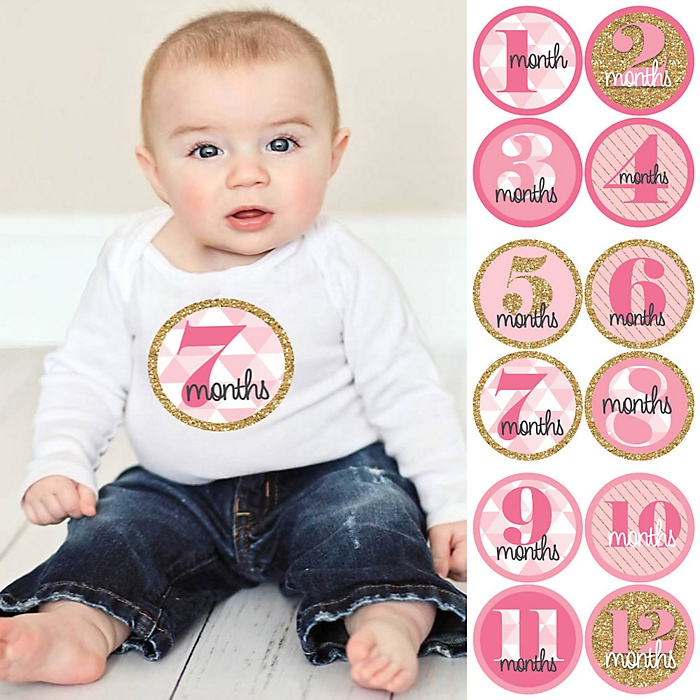 Baby Girl Monthly Sticker Set - Geometric Pink & Gold - Baby Shower Gift Ideas - 12 Piece