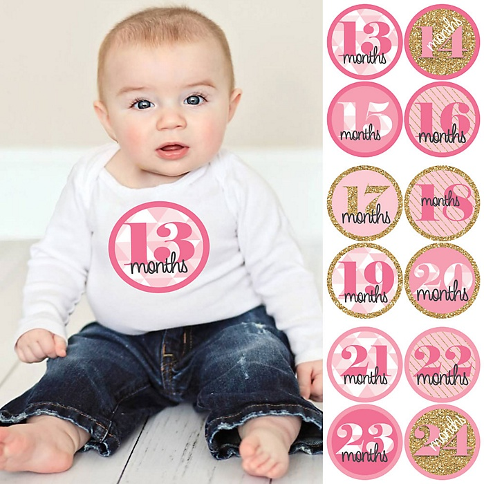 Baby Girl Second Year Monthly Sticker Set - Geometric Pink & Gold - Baby Shower Gift Ideas -  13 - 24 Months Stickers