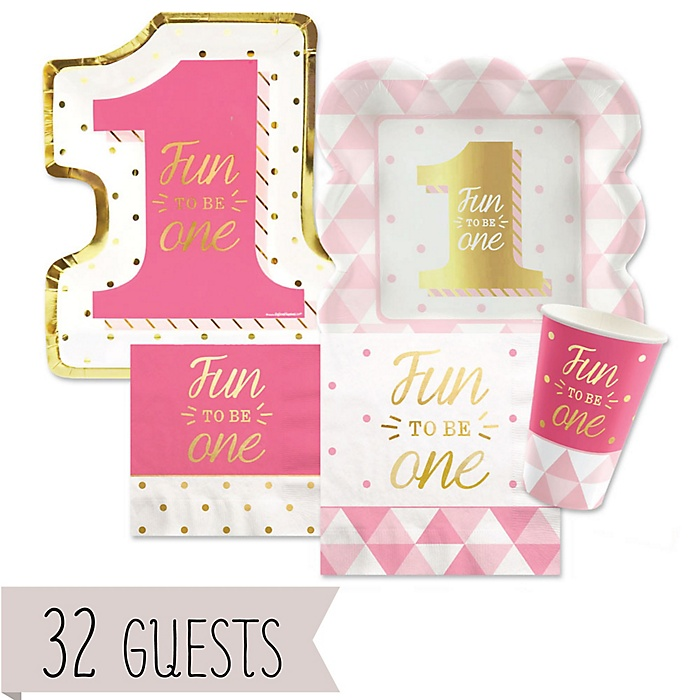 Fun to be One - 1st Birthday Girl with Gold Foil - Birthday Party Tableware Plates, Cups and Napkins - Bundle of 32