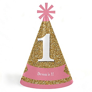 1st Birthday Girl - Fun to be One - Personalized Cone Happy First Birthday Party Hats for Kids and Adults - Set of 8 (Standard Size)