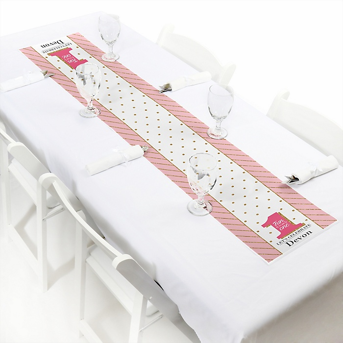 1st Birthday Girl - Fun to be One - Personalized First Birthday Party Petite Table Runner
