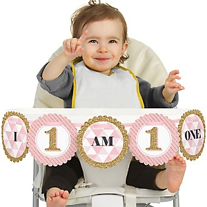 1st Birthday Girl - Fun to be One - 1st Birthday - I am One - First Birthday High Chair Banner