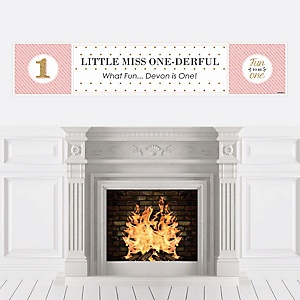 1st Birthday Girl - Fun to be One - Personalized First Birthday Party Banners