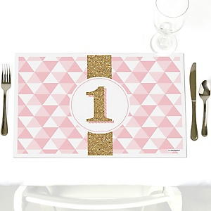 1st Birthday Girl - Fun to be One - Party Table Decorations - First Birthday Party Placemats - Set of 12